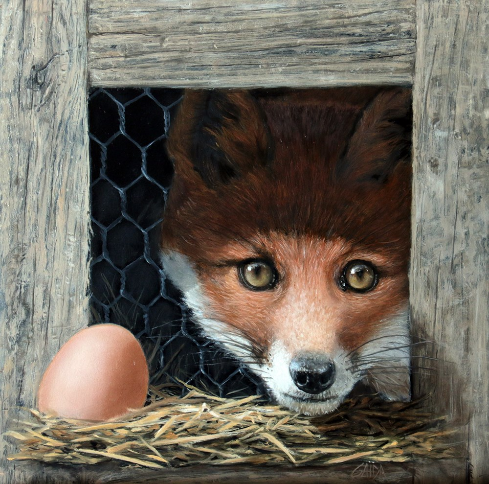 """Young fox in the henhouse"" original fine art by Arthur Gaida"