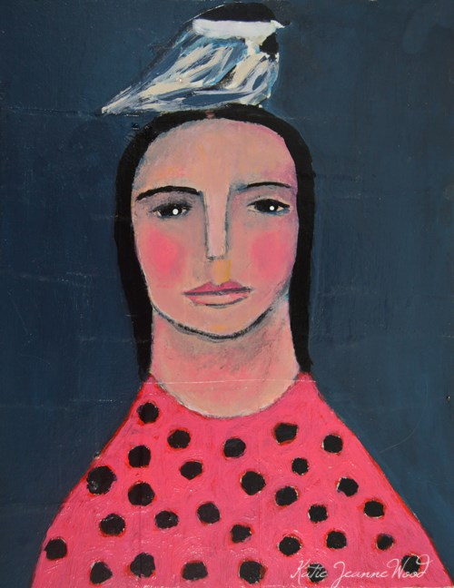 """Birdy on Her Head No 7"" original fine art by Katie Jeanne Wood"
