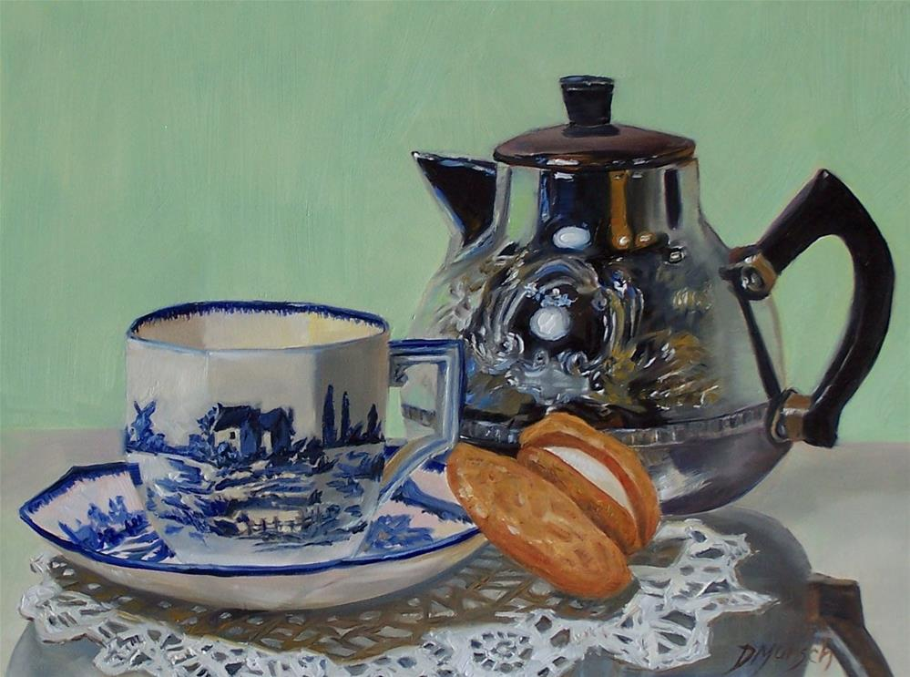 """Tea and Cookie Break"" original fine art by Donna Munsch"