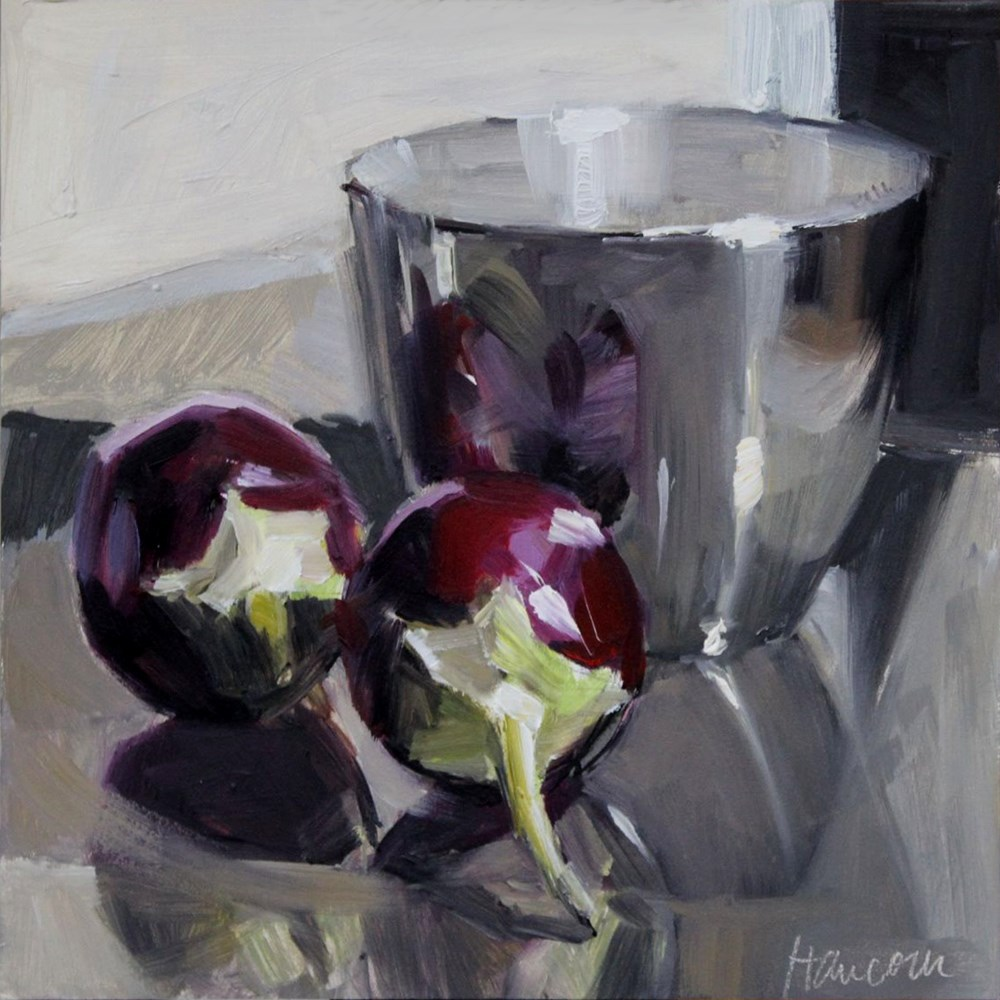 """Two Eggplant Silver Cup"" original fine art by Gretchen Hancock"