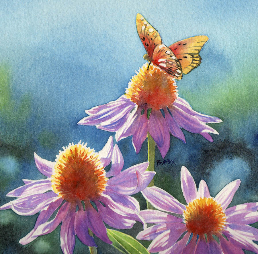 """A JOYFUL DANCE Floral Watercolor Painting"" original fine art by Barbara Fox"
