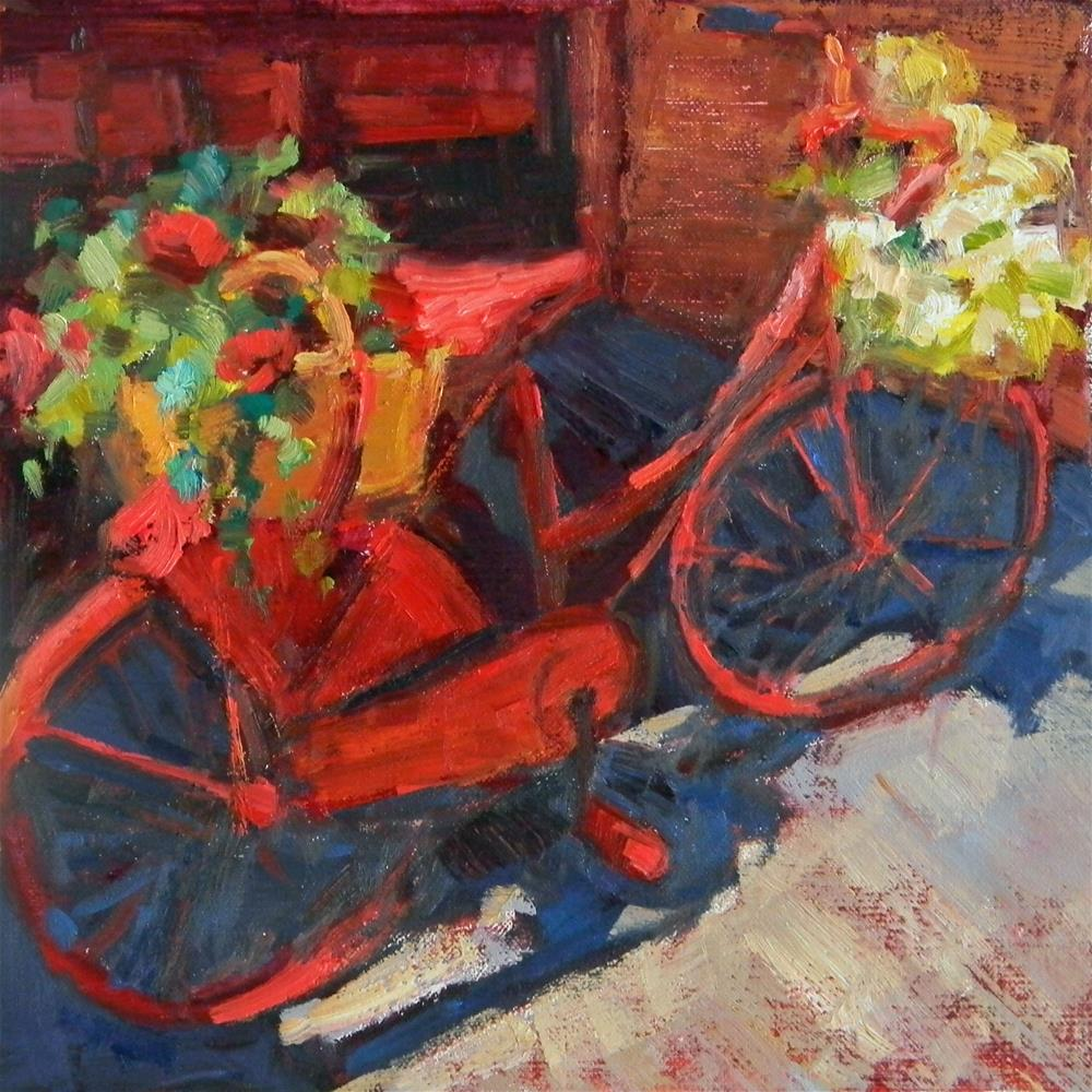 """Red Bicycle"" original fine art by Barbie Smith"