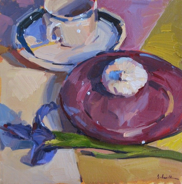 """Garlic on a Purple Plate"" original fine art by Sarah Sedwick"