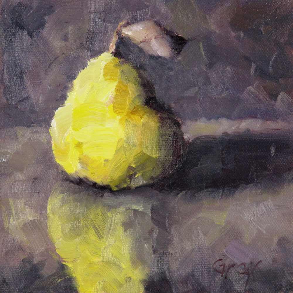 """Pear & Reflection"" original fine art by Naomi Gray"
