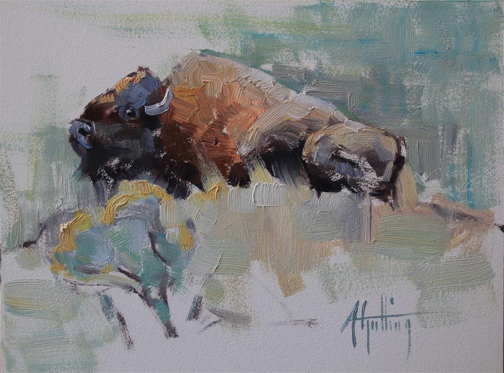 """Buffalo Study #8"" original fine art by Abigail Gutting"