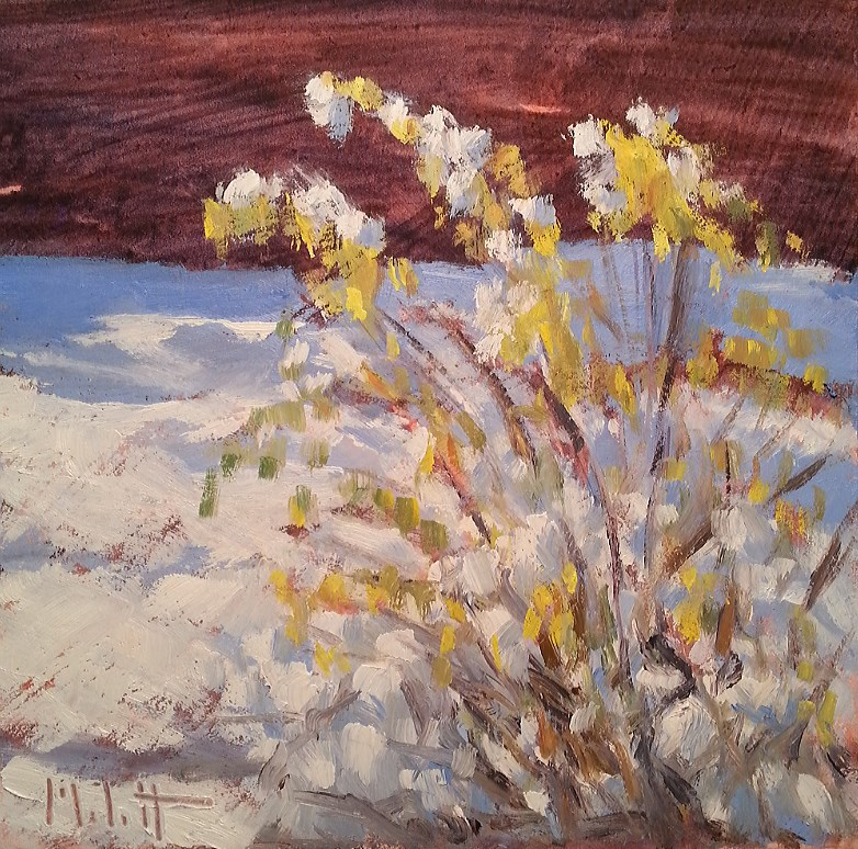 """First Snow on the Last of the Garden Winter Oil Painting"" original fine art by Heidi Malott"
