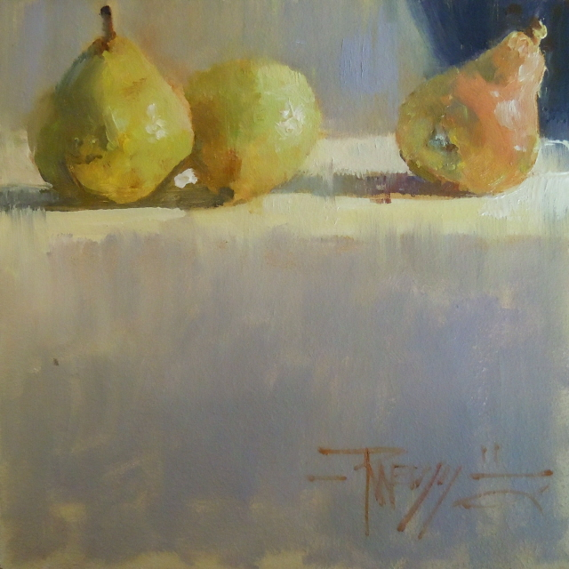 """Three's a Crowd   pear, still life oil painting."" original fine art by Robin Weiss"