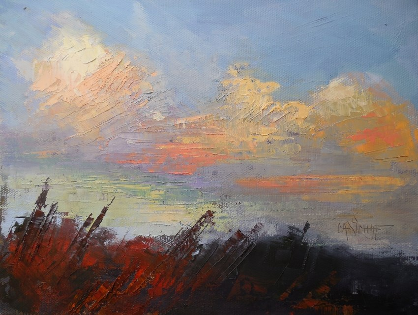 """Sky Painting, Daily Painting, Small Oil Painting, Cloud Painting, Autumn Skies by Carol Schiff, 8x"" original fine art by Carol Schiff"