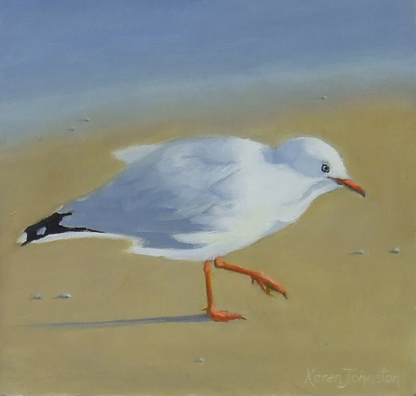"""Seagull"" original fine art by Karen Johnston"