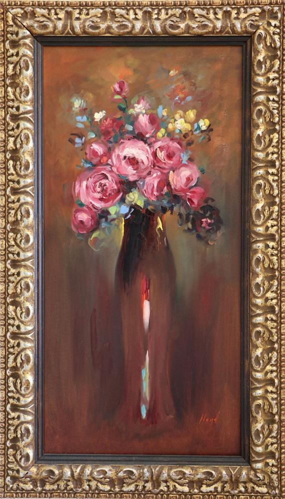 """Pink Roses in Tall Vase"" original fine art by Diane Lloyd"