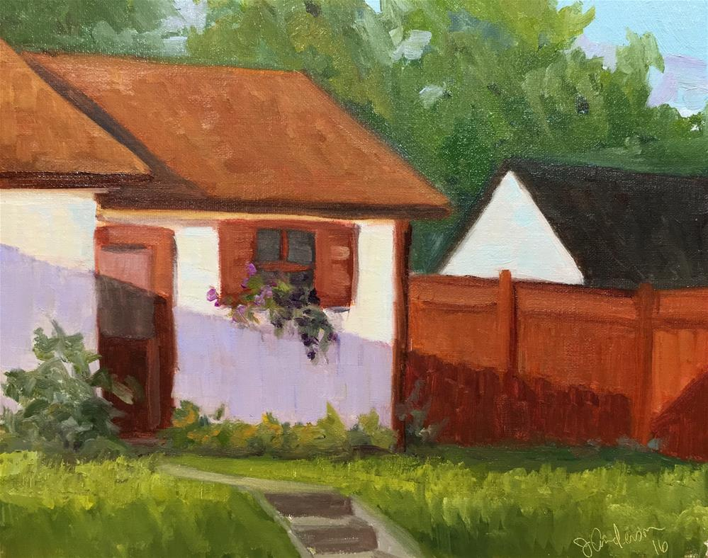"""Evening light on the shed"" original fine art by Judith Anderson"