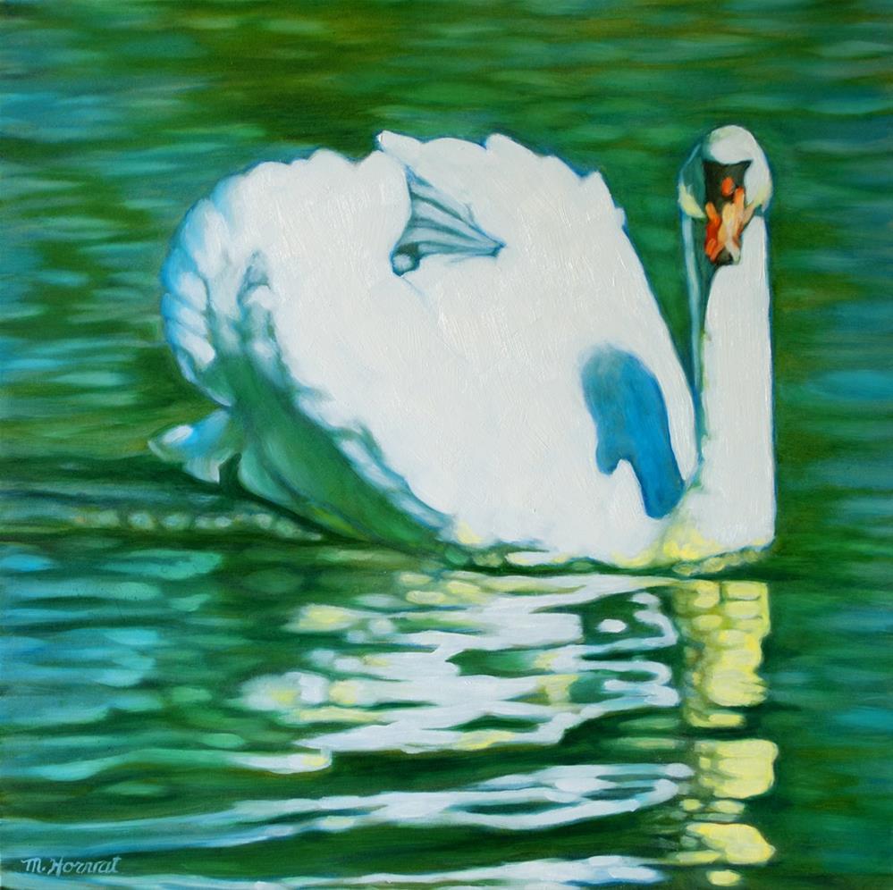 """White Swan"" original fine art by Margaret Horvat"