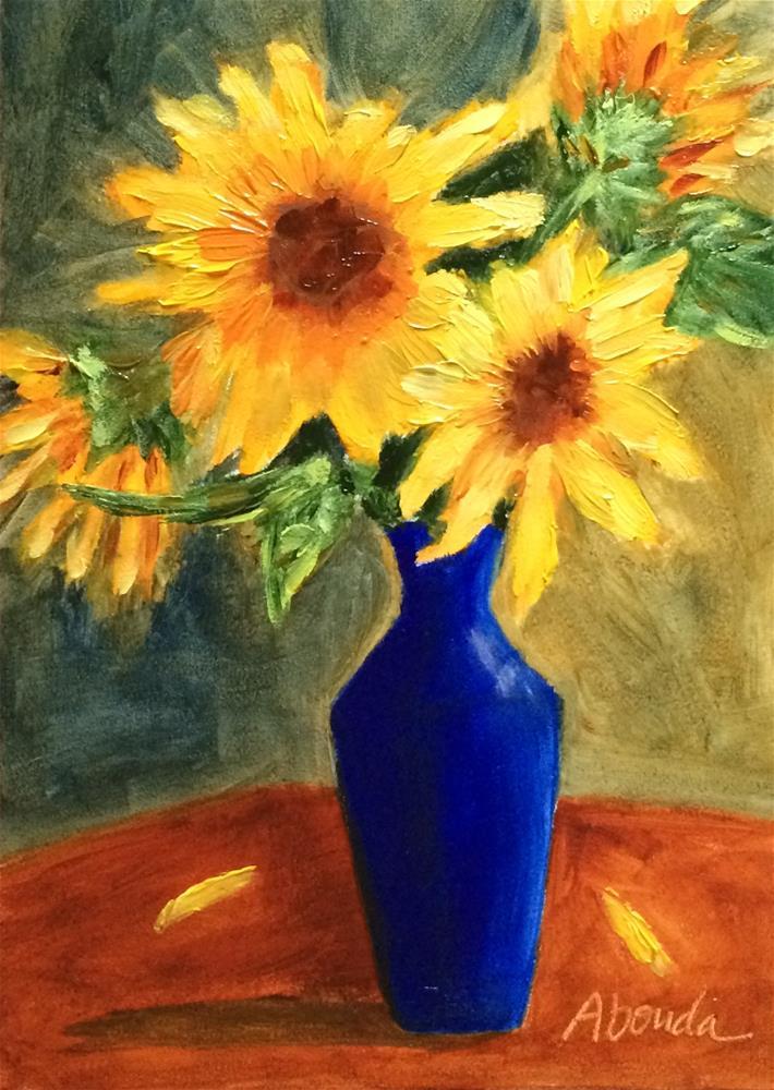 """Sunflowers in Blue Vase"" original fine art by Sandy Abouda"