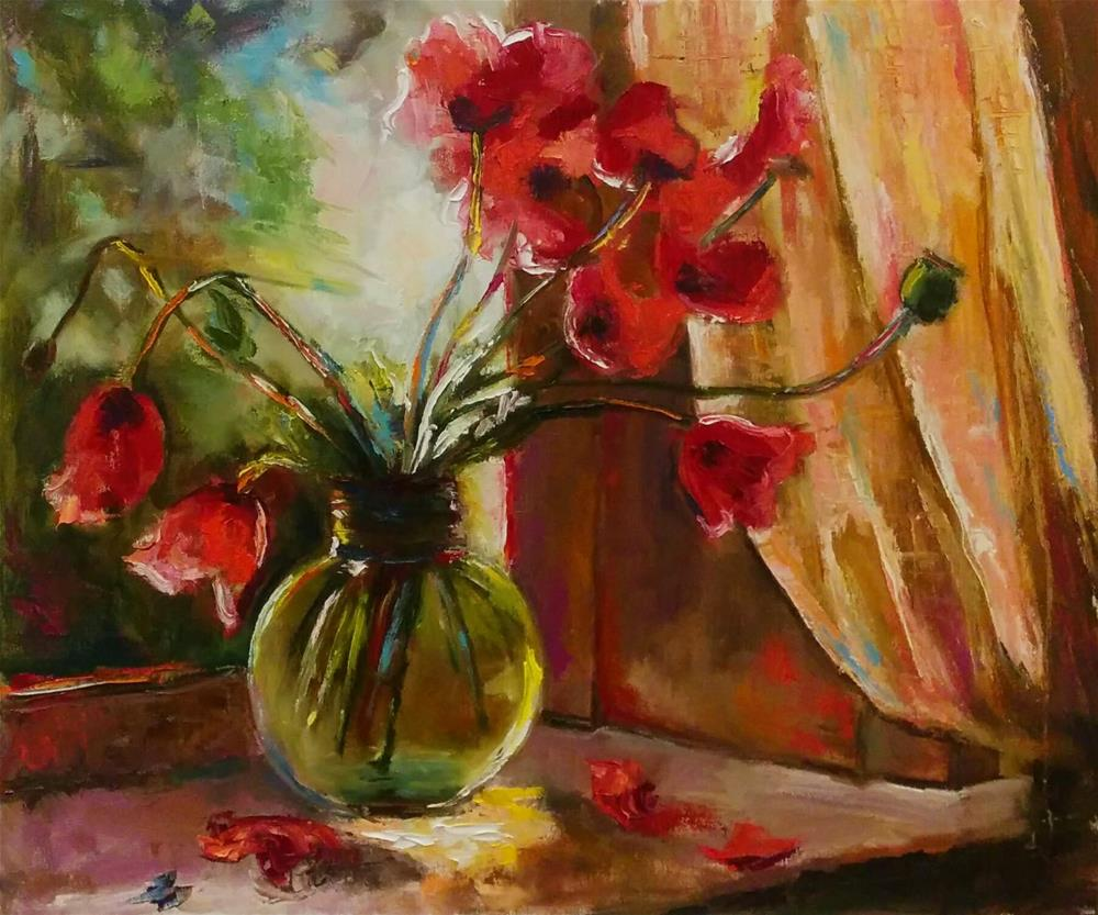 """Red Poppies"" original fine art by pepa sand"