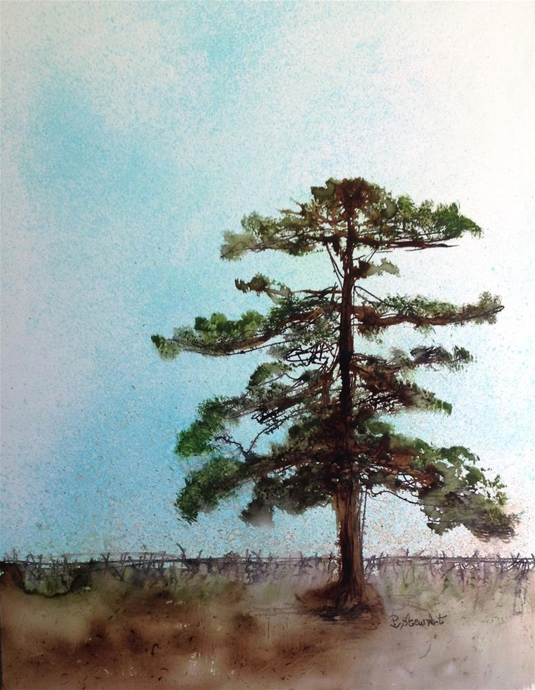 """9x12 Lone Tree on Yupo Paper Mixed Media Painting by Penny Lee StewArt"" original fine art by Penny Lee StewArt"