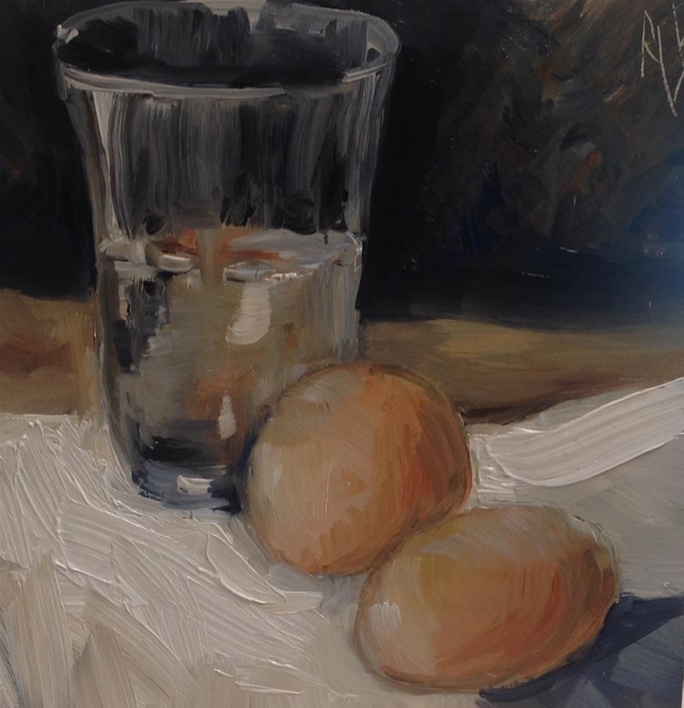 """Water glass and eggs"" original fine art by Annette Balesteri"
