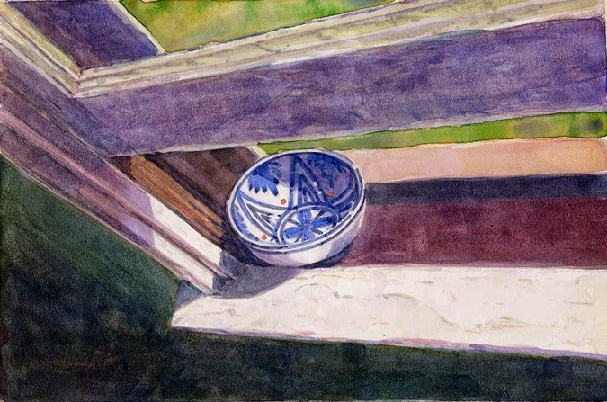 """Watercolor: Rieke's Bowl & a question about artists' studios work surfaces"" original fine art by Belinda Del Pesco"