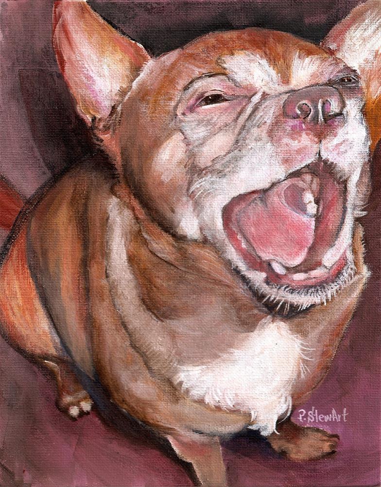 """8x10 Chipper Chihuahua Big Smile an acrylic Pet Portrait by Penny StewArt"" original fine art by Penny Lee StewArt"