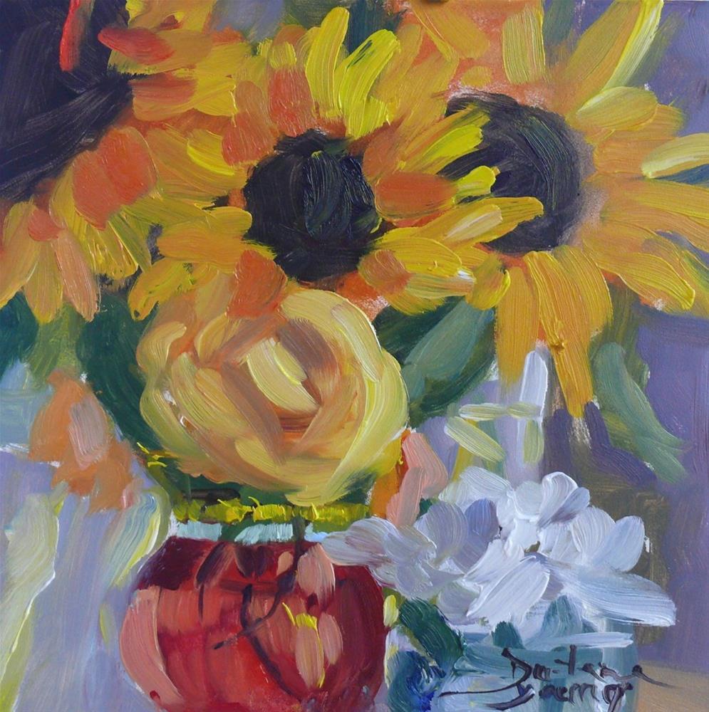 """884 Congratulations, oil on board, 6x6"" original fine art by Darlene Young"