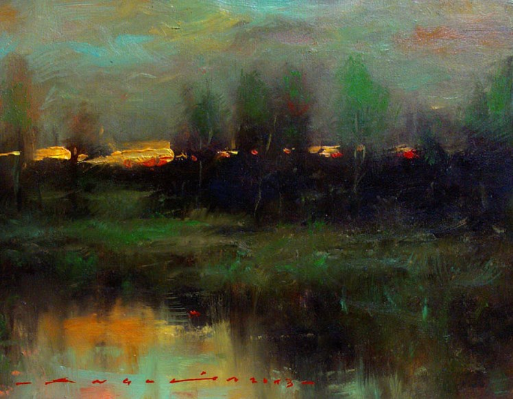 """landscape - Dusk"" original fine art by Angel Angelov"