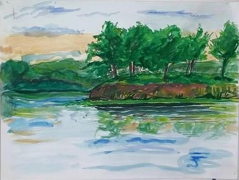 """Bank and Trees"" original fine art by Selby Minner"