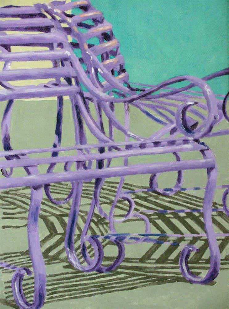 """Purple Benches"" original fine art by Nan Johnson"
