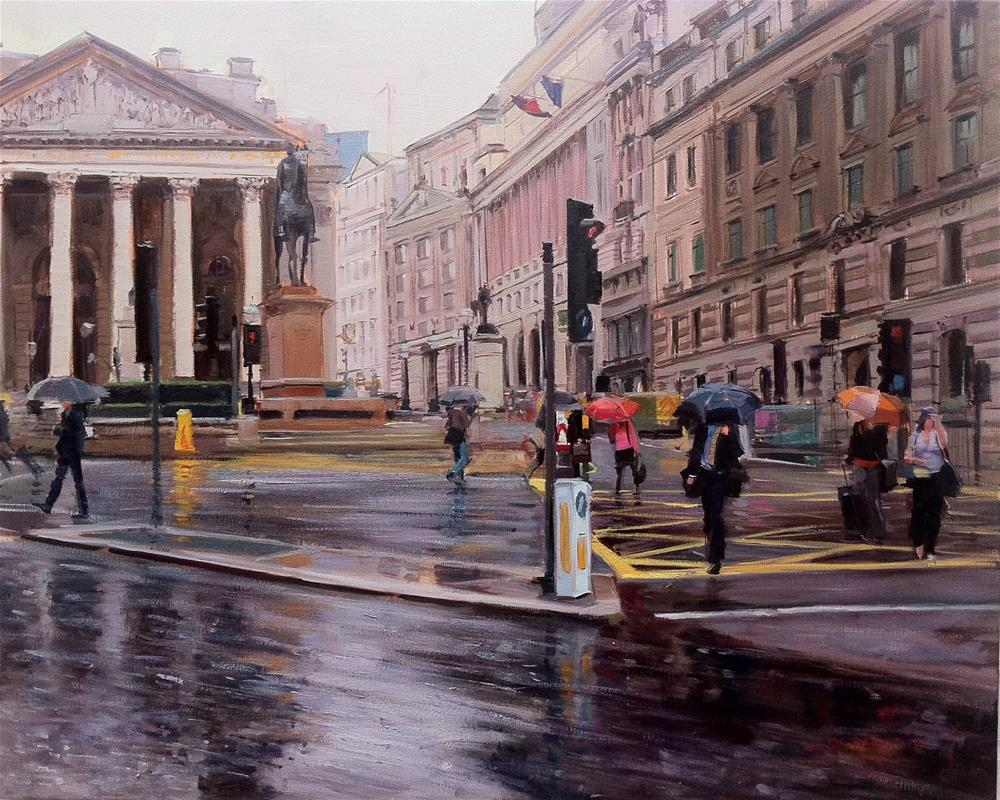 """Rain in the City"" original fine art by Adebanji Alade"