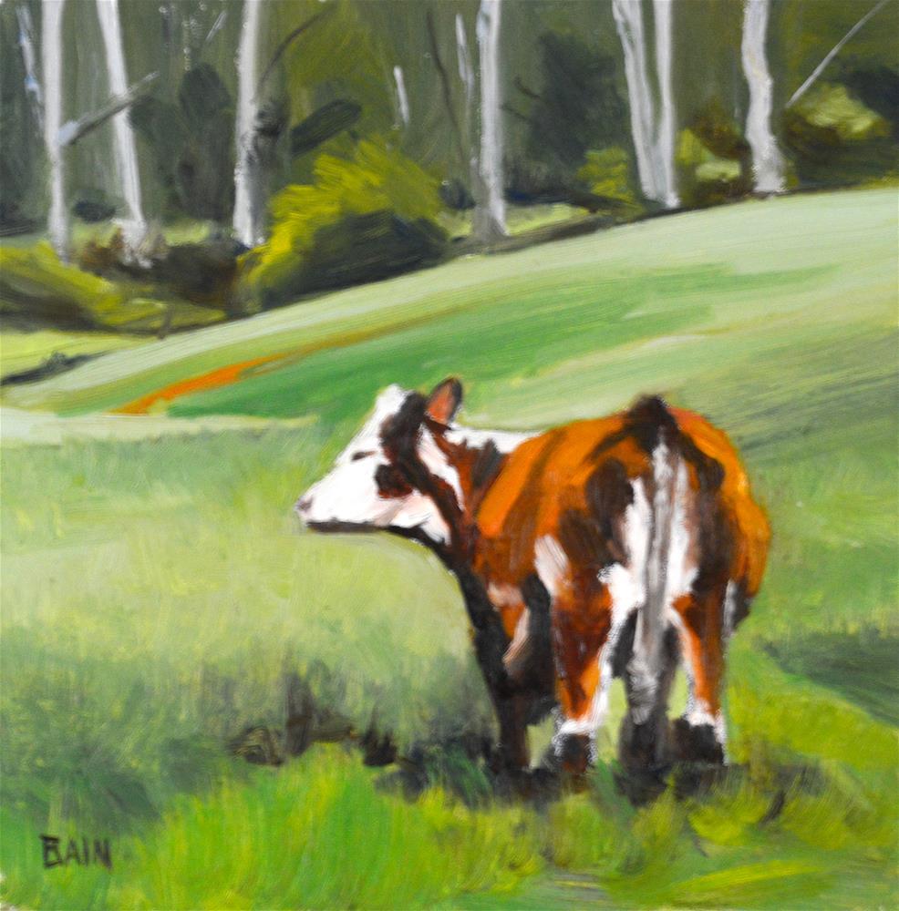 """""""Cow no. 3"""" original fine art by Peter Bain"""