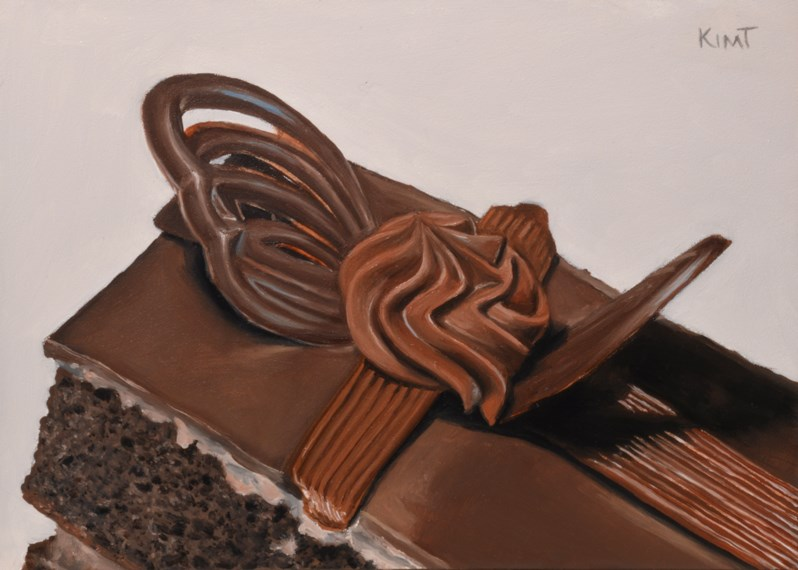 """Chocolate Ganache Cake 1"" original fine art by Kim Testone"