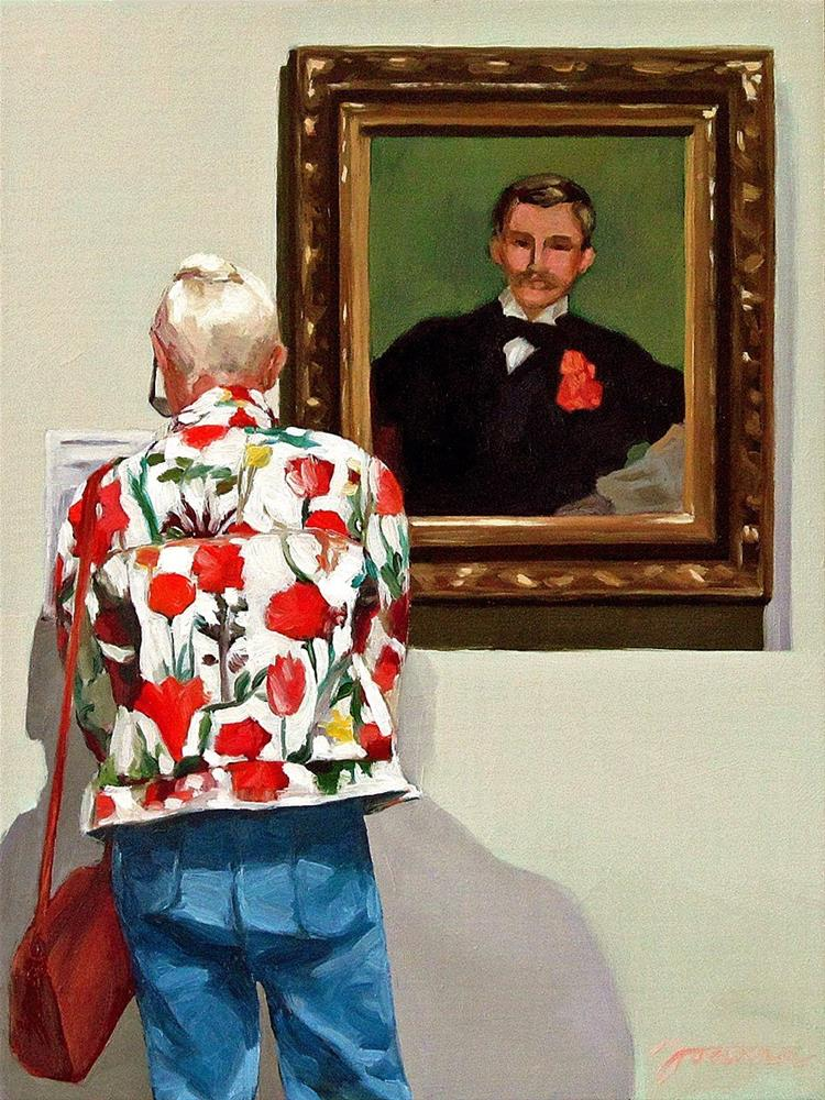 """The Jacket with Carnation--Painting People in Museum/Gallery Series"" original fine art by Joanna Bingham"