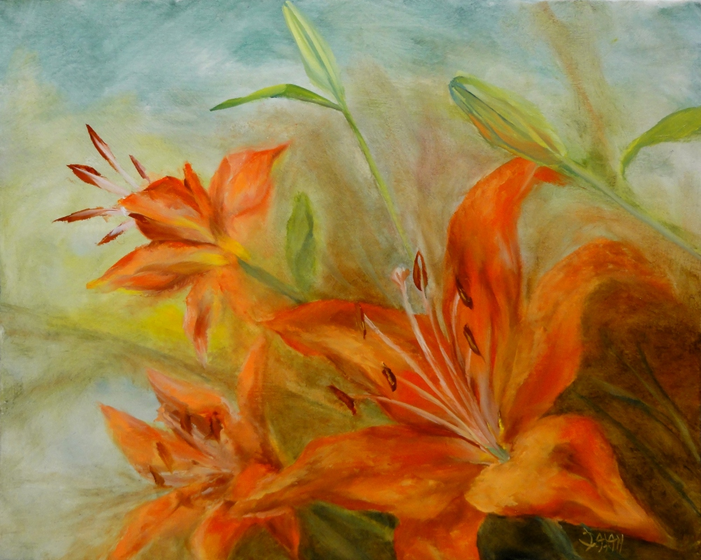 """Orange Lillies"" original fine art by Dalan Wells"