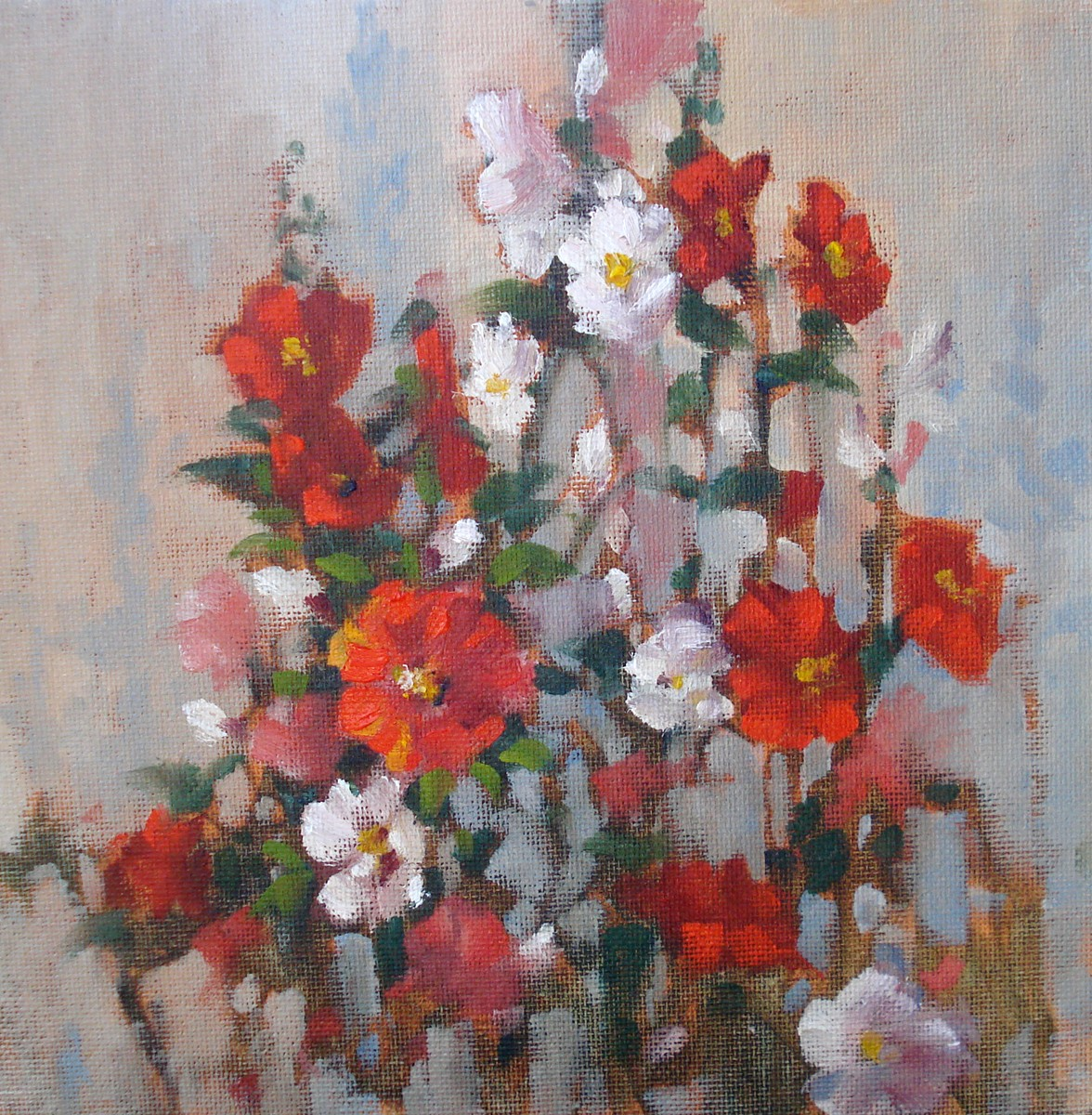 """Hollyhocks"" original fine art by Margie Whittington"