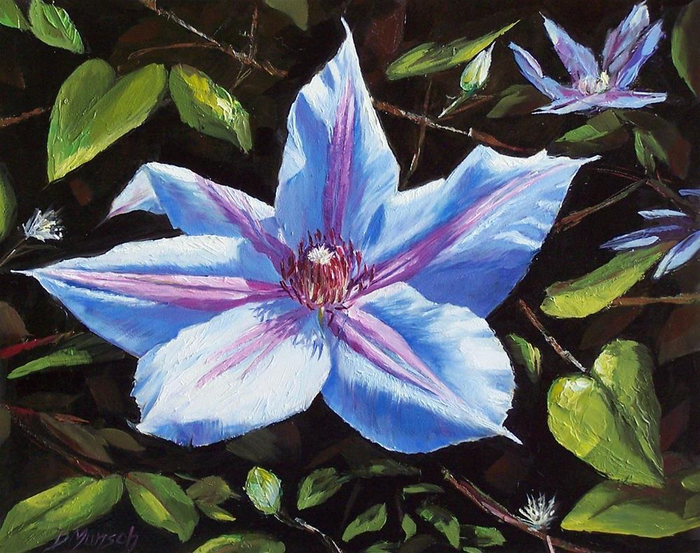 """""""Blue Clematis"""" original fine art by Donna Munsch"""