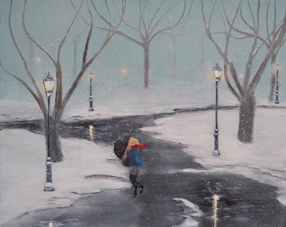 """Blizzard In The Paark"" original fine art by Ken Figurski"