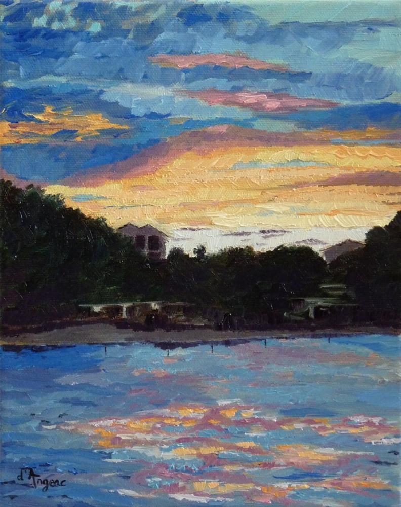 """Sunset on the Water"" original fine art by Karen D'angeac Mihm"