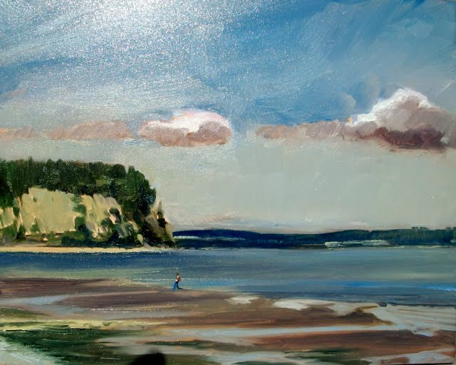 """Indian Island from Shine Tidelands Park, Washington State , Plain Air painting"" original fine art by Robin Weiss"
