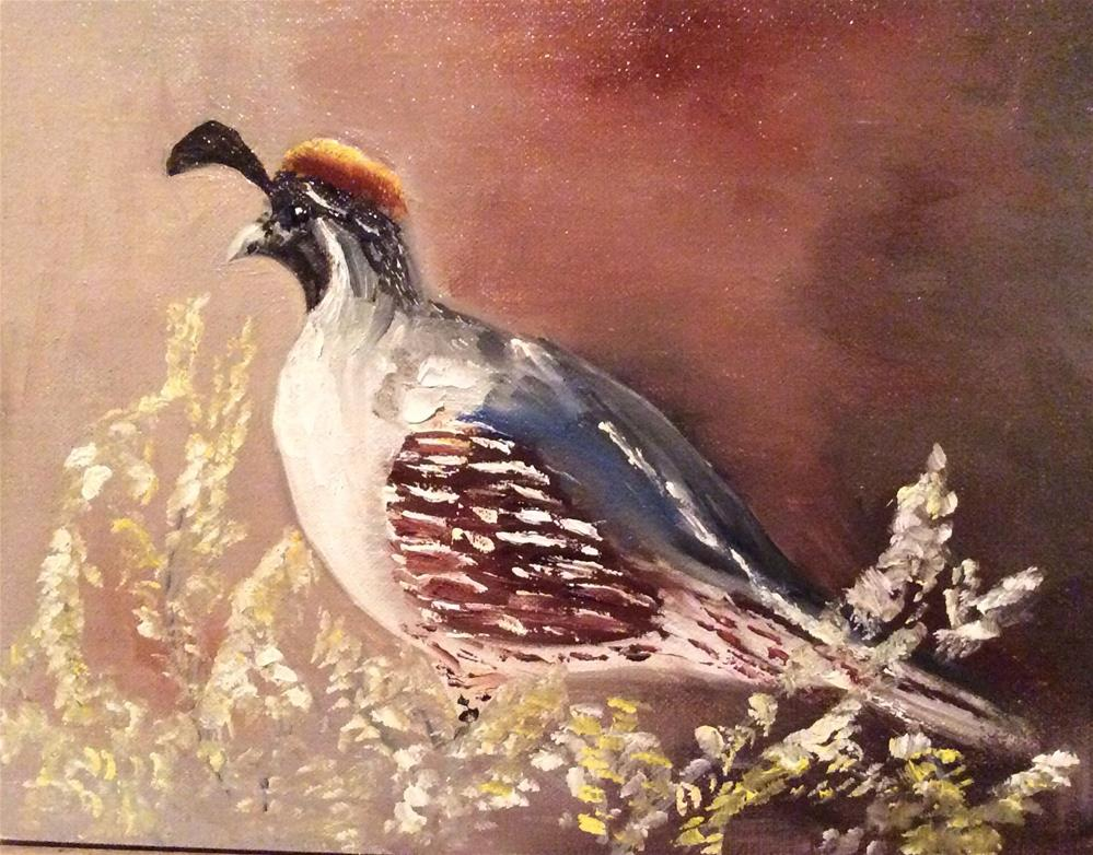 """Gambrel Quail"" original fine art by Charlotte Lough"