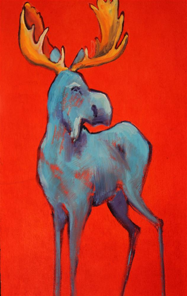 """Blue Moose"" original fine art by Colleen Drury"