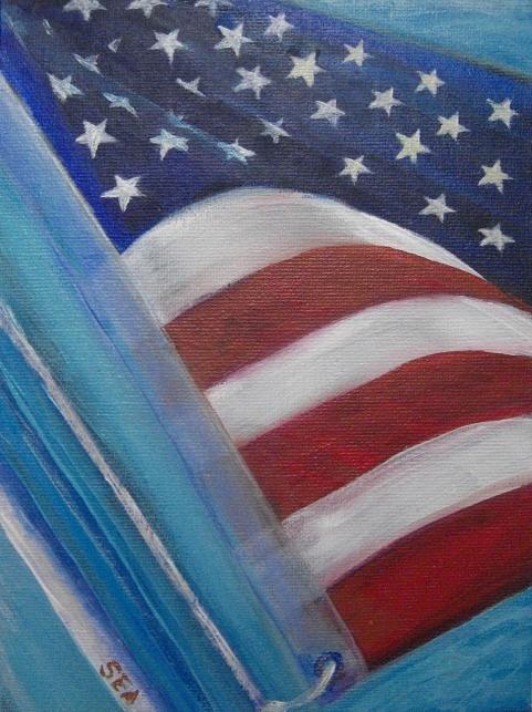 """2064 - Team USA - Flags of the World Series - USA"" original fine art by Sea Dean"