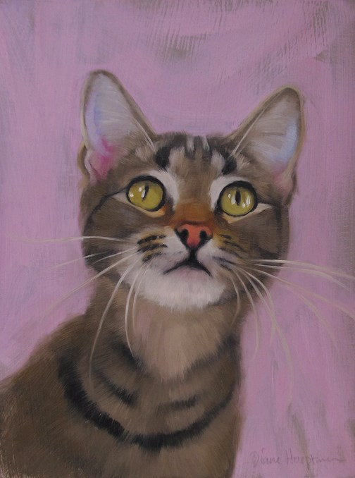 """Starry Eyed cat painting"" original fine art by Diane Hoeptner"