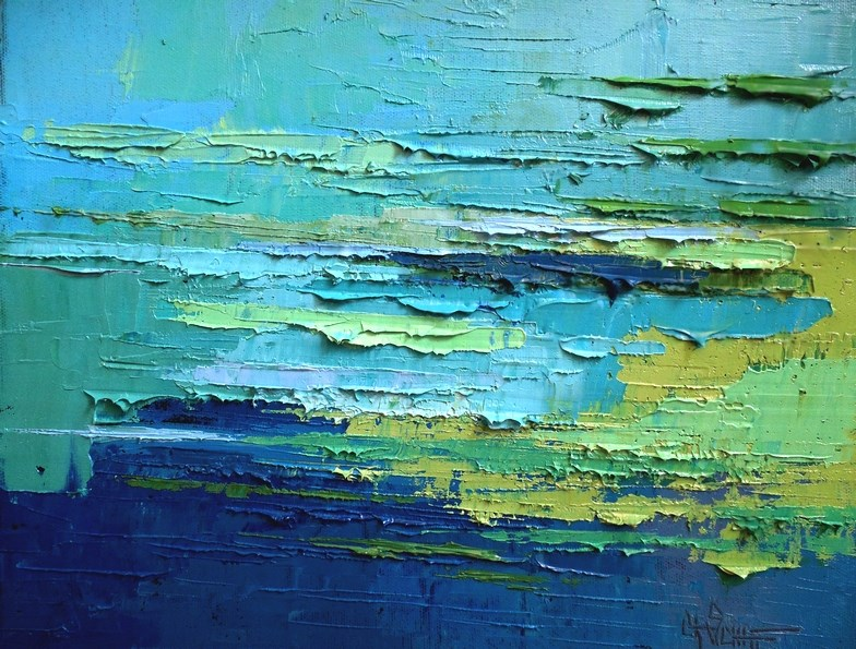 """Abstract Seascape Oil Painting, Tropical Waters, Daily Painting, Small Oil Painting, 11x14x1.5"" original fine art by Carol Schiff"