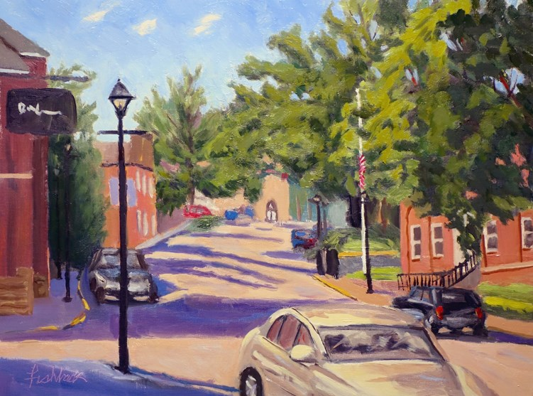 """Life in the City, en Plein air"" original fine art by Daniel Fishback"