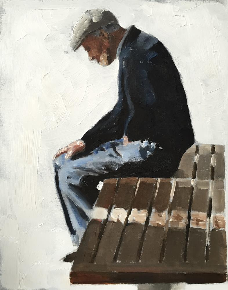 """Man on Bench"" original fine art by James Coates"