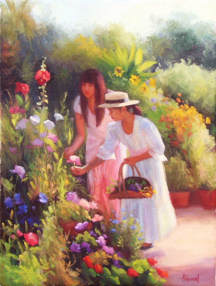 """Heather and Amaya in the Garden"" original fine art by Sherri Aldawood"