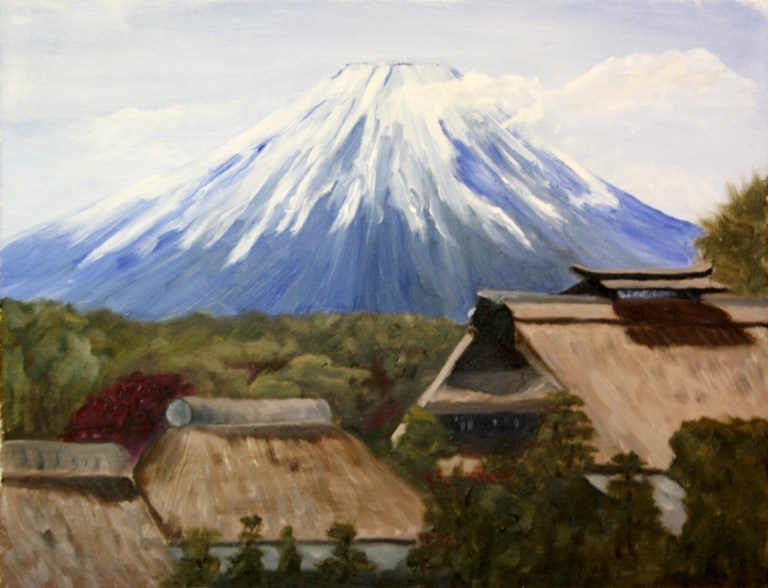 """Spring View of Mt. Fuji"" original fine art by Mary Datum"