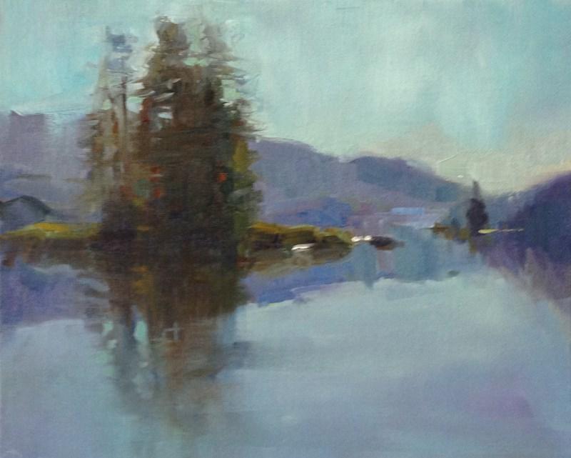 """""""Lund Lake in Lilac"""" original fine art by Patti McNutt"""