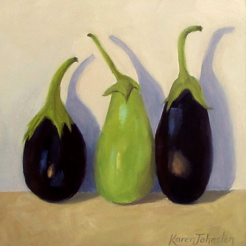 """Eggplant Babies"" original fine art by Karen Johnston"