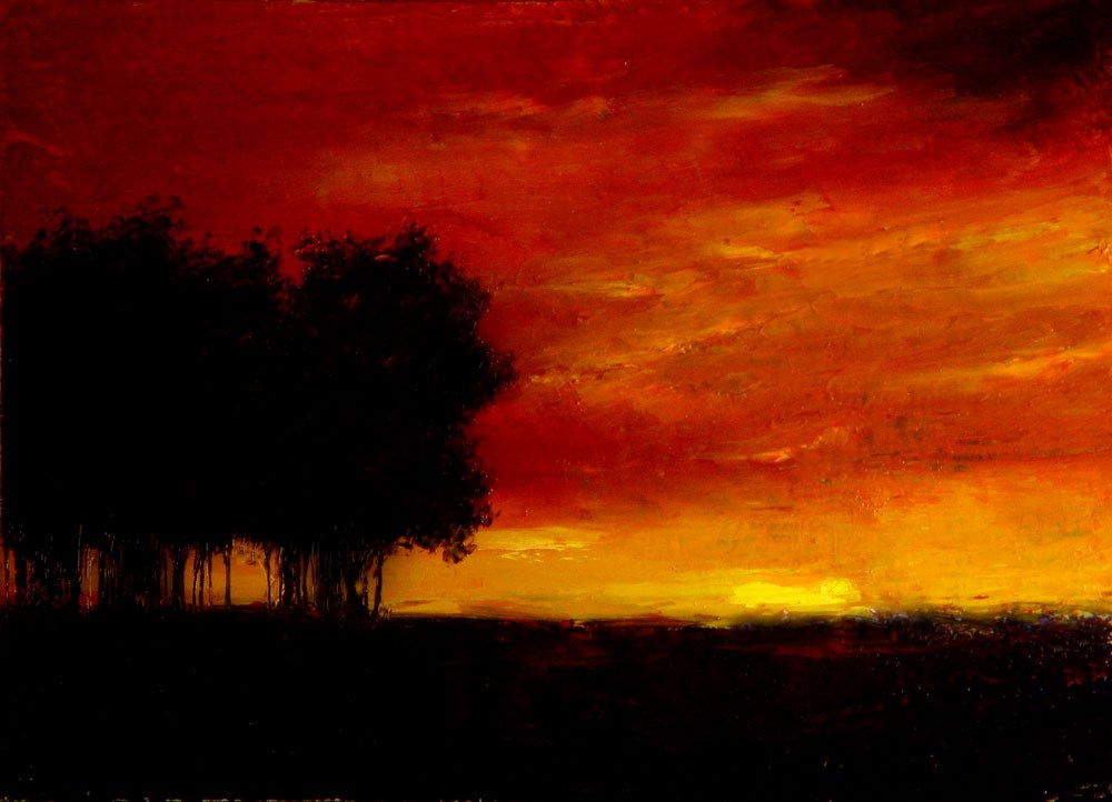 """Silhouetted Trees"" original fine art by Bob Kimball"