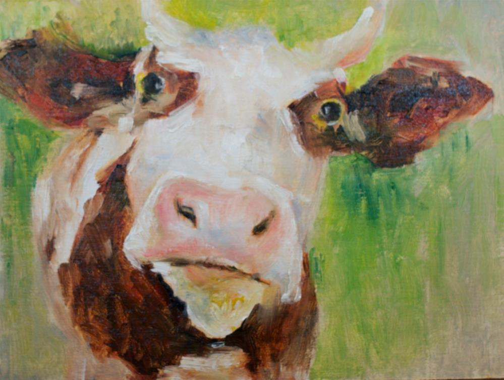 """Moo are you?"" original fine art by Sue Churchgrant"