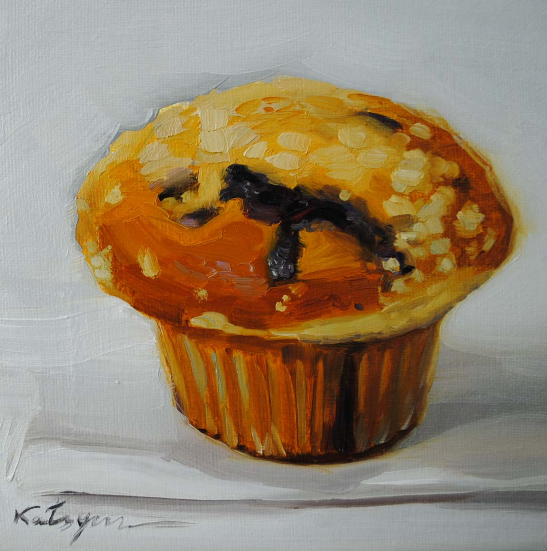 """Blueberry Muffin (White Background)"" original fine art by Elena Katsyura"